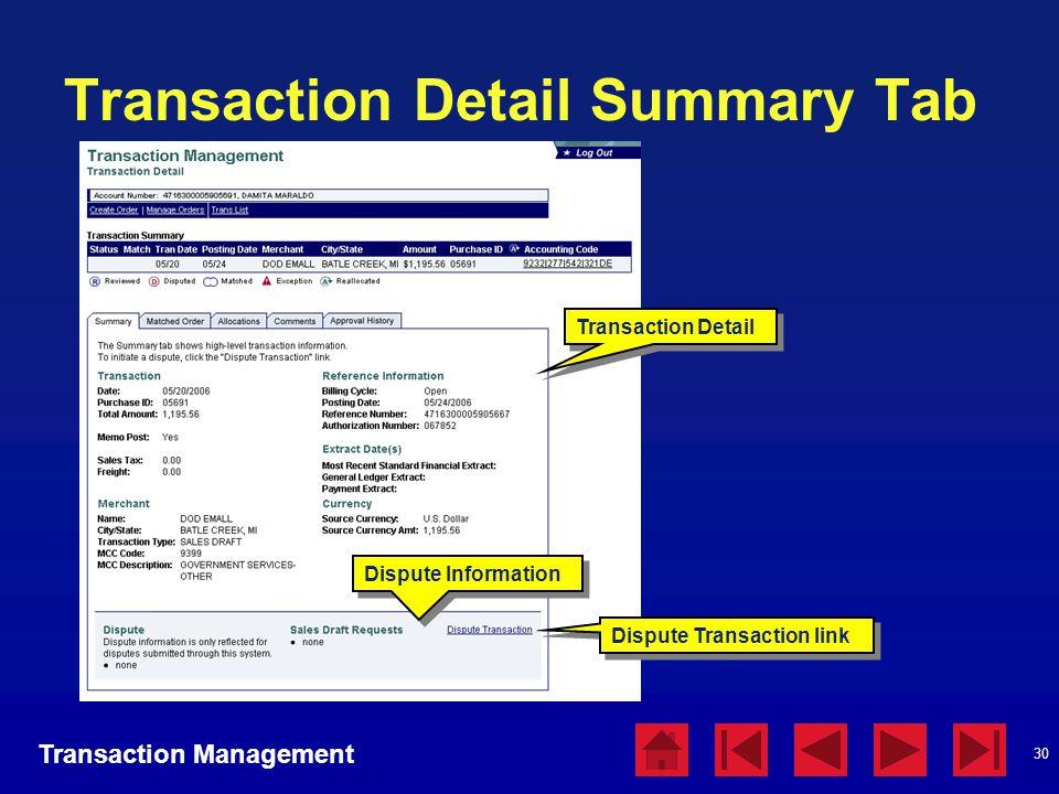 30 Transaction Detail Summary Tab Transaction Detail Transaction Management Dispute Information Dispute Transaction link
