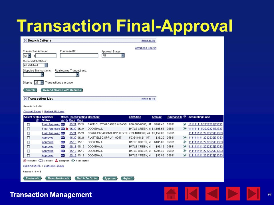 76 Transaction Final-Approval Transaction Management