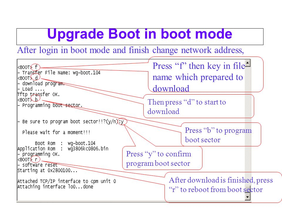 Upgrade Boot in boot mode After login in boot mode and finish change network address, Press f then key in file name which prepared to download Then press d to start to download Press b to program boot sector After download is finished, press r to reboot from boot sector Press y to confirm program boot sector