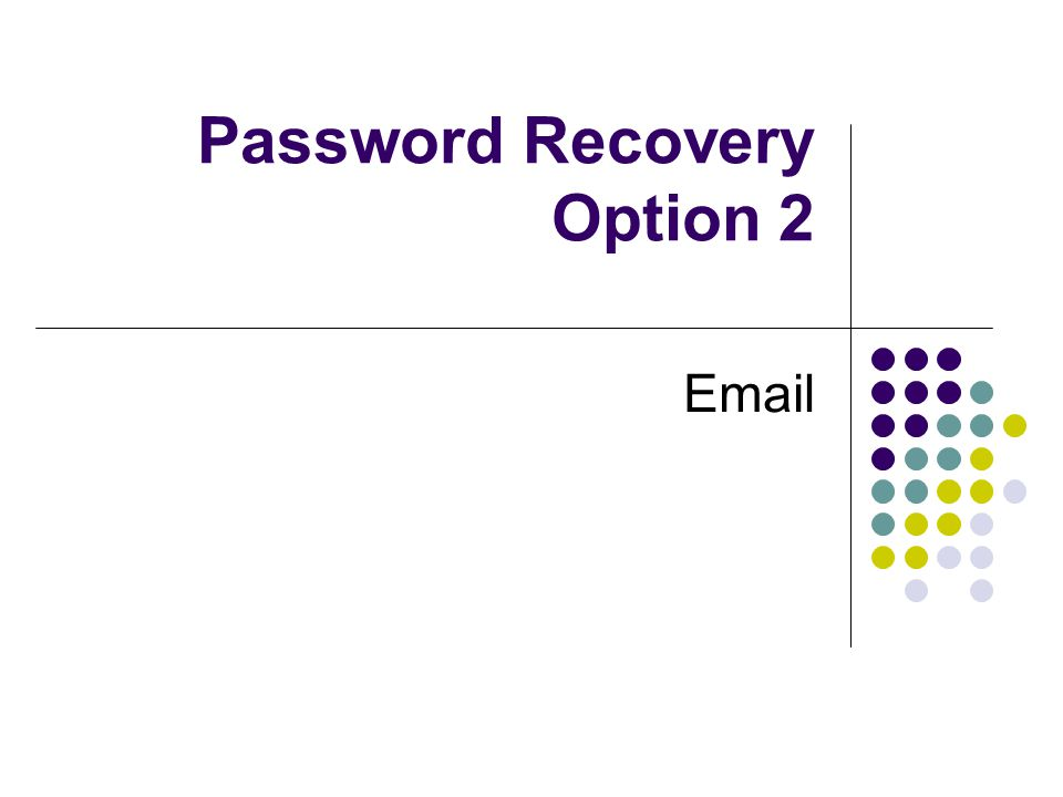 Password Recovery Option 2 Email