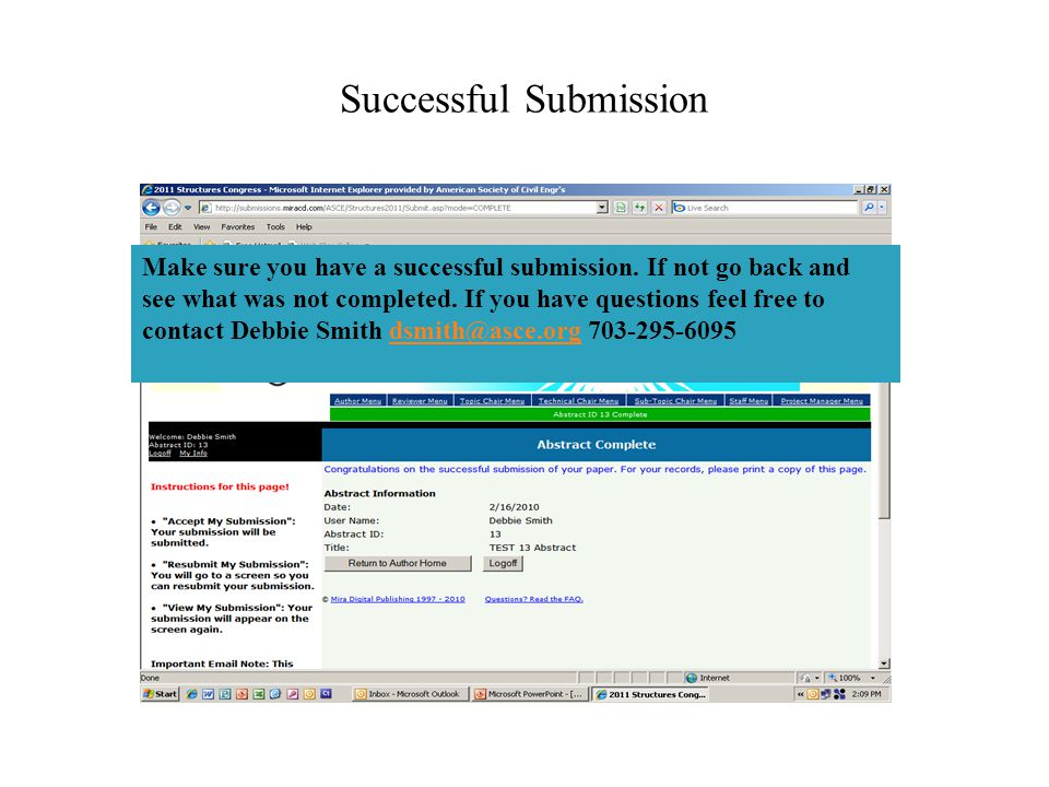 Successful Submission Make sure you have a successful submission.