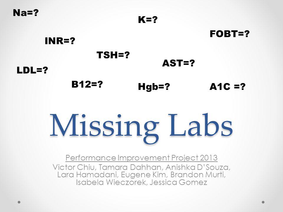 Missing Labs Performance Improvement Project 2013 Victor Chiu, Tamara Dahhan, Anishka D'Souza, Lara Hamadani, Eugene Kim, Brandon Murti, Isabela Wieczorek, Jessica Gomez K=.