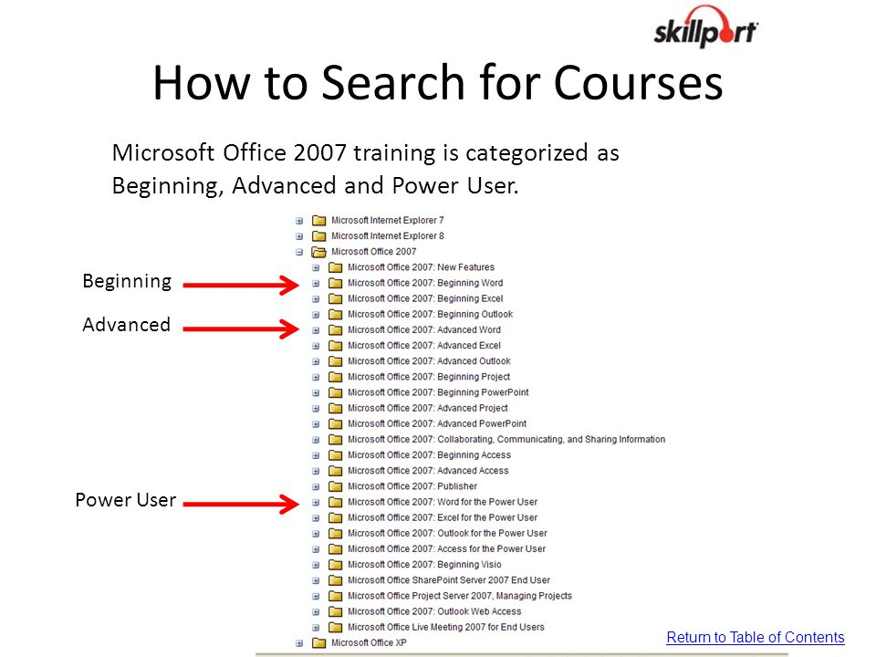 How to Search for Courses Microsoft Office 2007 training is categorized as Beginning, Advanced and Power User. Beginning Advanced Power User Return to