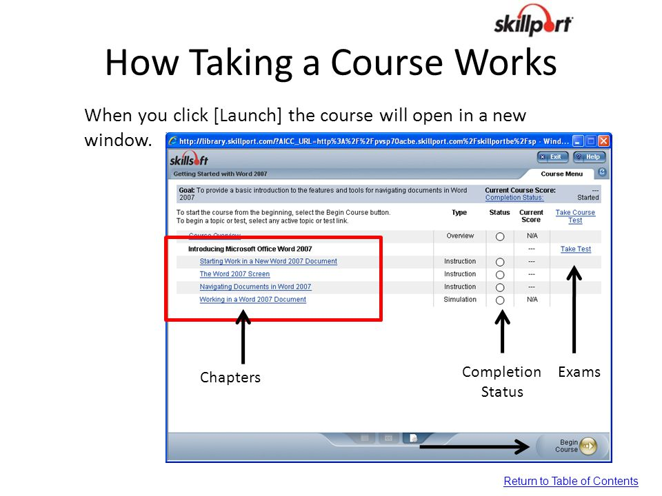 How Taking a Course Works When you click [Launch] the course will open in a new window. Chapters Completion Status Exams Return to Table of Contents