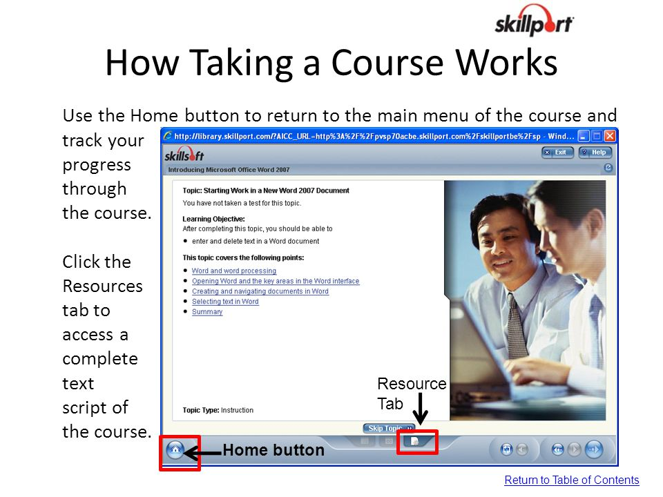 How Taking a Course Works Use the Home button to return to the main menu of the course and track your progress through the course. Click the Resources