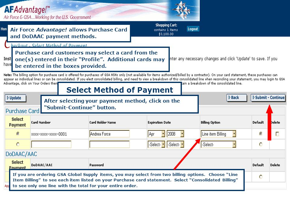 Federal Acquisition Service 42 Select Method of Payment Air Force Advantage.