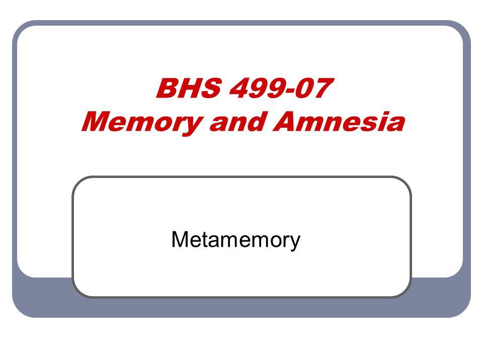 BHS 499-07 Memory and Amnesia Metamemory