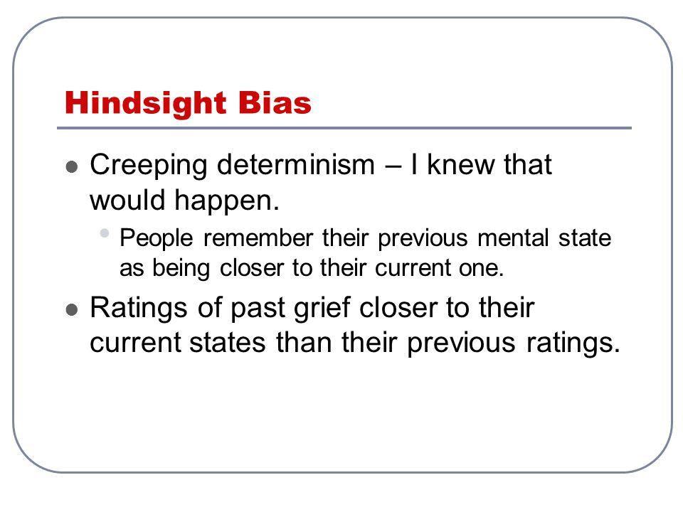 Hindsight Bias Creeping determinism – I knew that would happen.