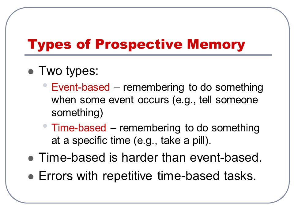 Types of Prospective Memory Two types: Event-based – remembering to do something when some event occurs (e.g., tell someone something) Time-based – re
