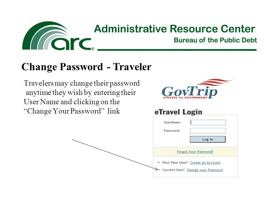 Travelers may change their password anytime they wish by entering their User Name and clicking on the Change Your Password link Change Password - Traveler