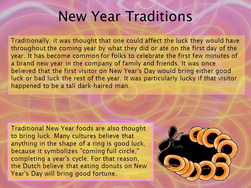 Traditionally, it was thought that one could affect the luck they would have throughout the coming year by what they did or ate on the first day of the year.