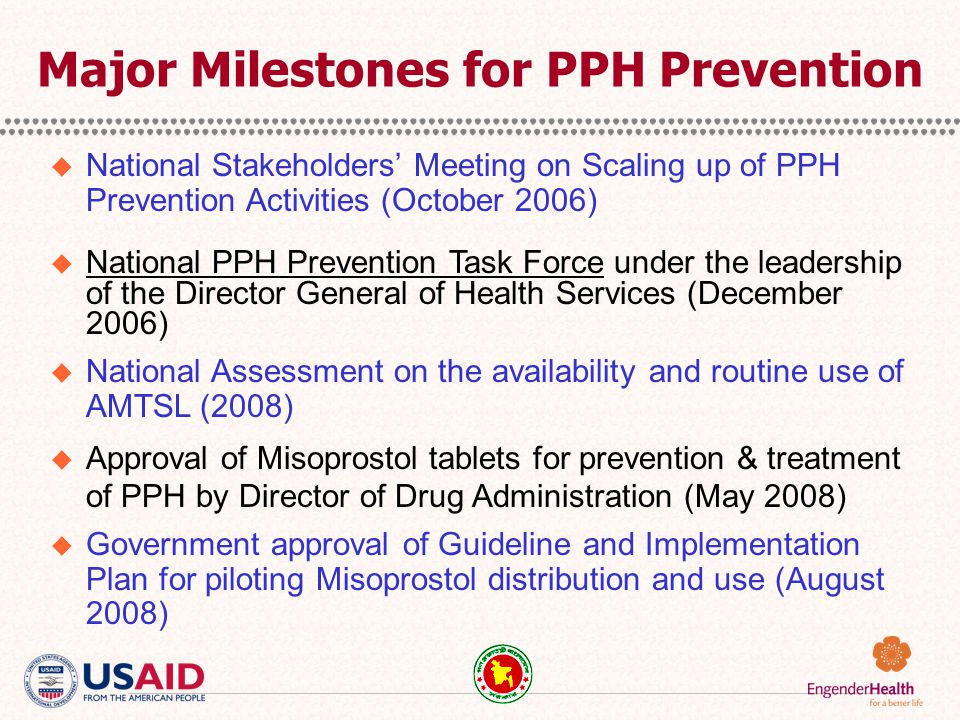 Major Milestones for PPH Prevention  National Stakeholders' Meeting on Scaling up of PPH Prevention Activities (October 2006)  National PPH Preventi
