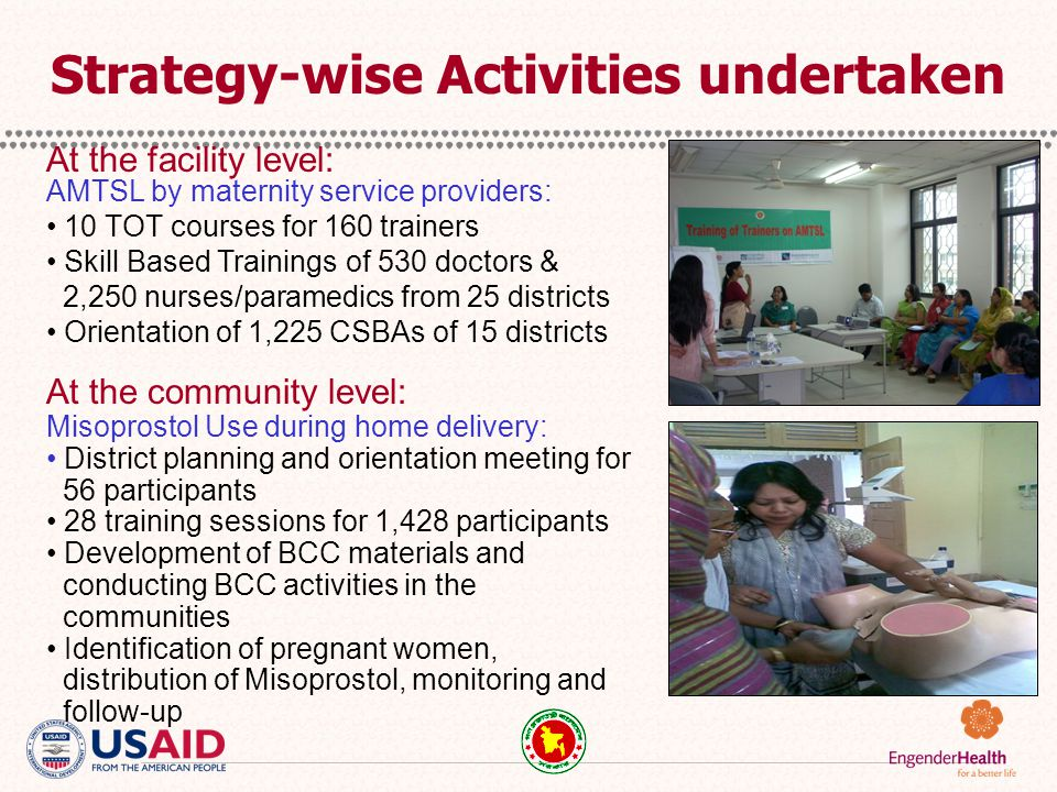 AMTSL Training: EngenderHealth completed 25 districts, OGSB 5 districts and UNFPA 4 districts.