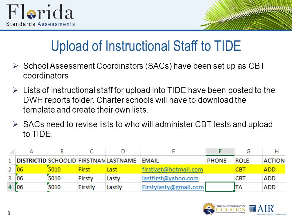 Upload of Instructional Staff to TIDE  School Assessment Coordinators (SACs) have been set up as CBT coordinators  Lists of instructional staff for