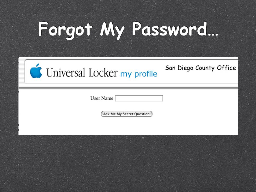 Forgot My Password…