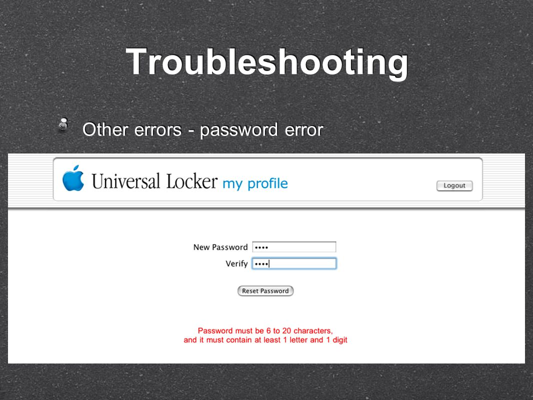 Other errors - password error Troubleshooting