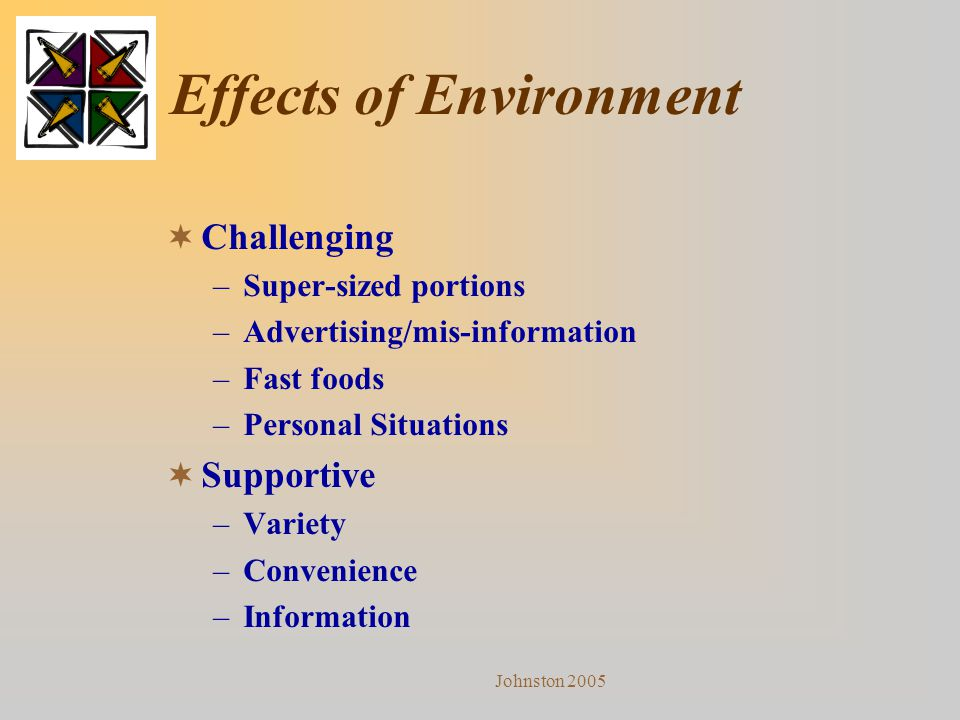 Johnston 2005 Effects of Environment  Challenging –Super-sized portions –Advertising/mis-information –Fast foods –Personal Situations  Supportive –V