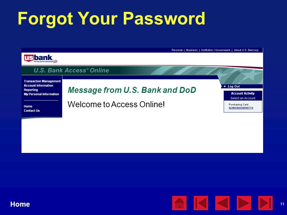 11 Forgot Your Password Home Message from U.S. Bank and DoD Welcome to Access Online!