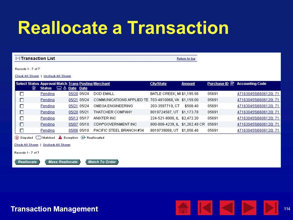 114 Reallocate a Transaction Transaction Management