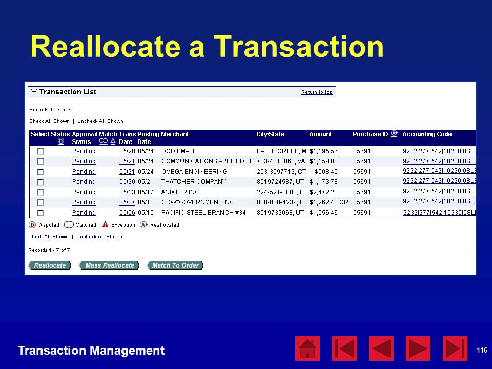 116 Reallocate a Transaction Transaction Management