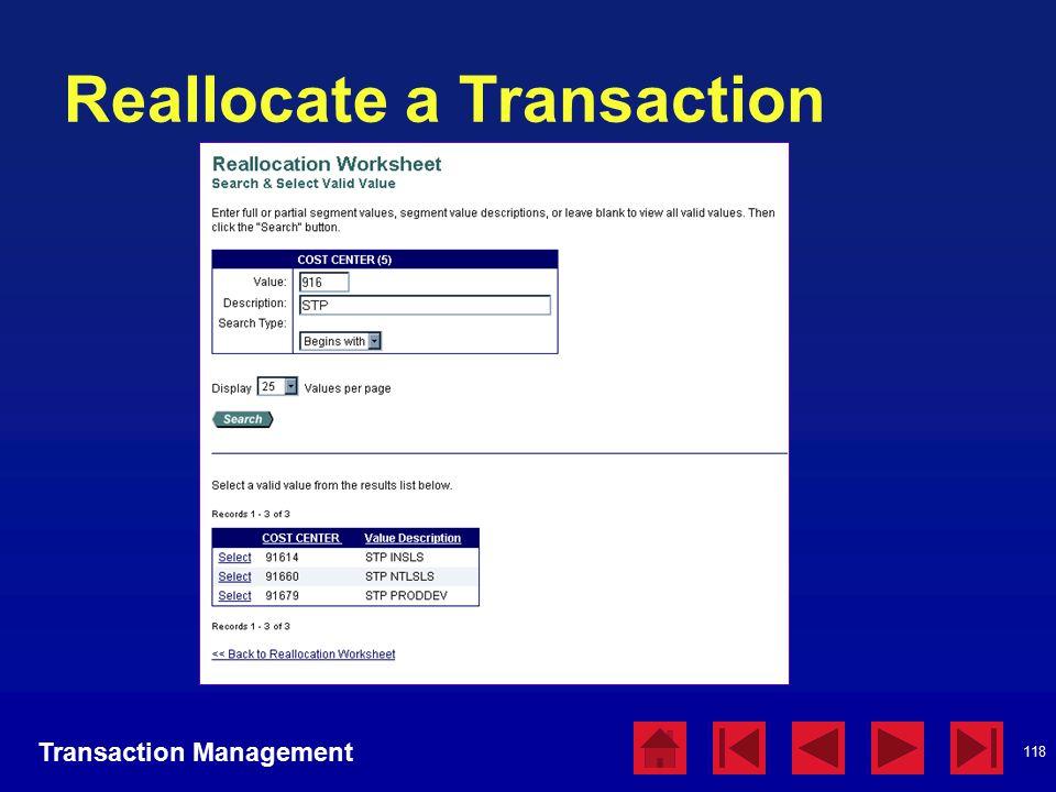 118 Reallocate a Transaction Transaction Management