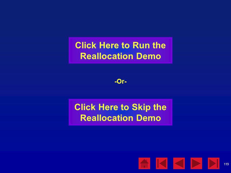 119 Click Here to Run the Reallocation Demo Click Here to Skip the Reallocation Demo -Or-