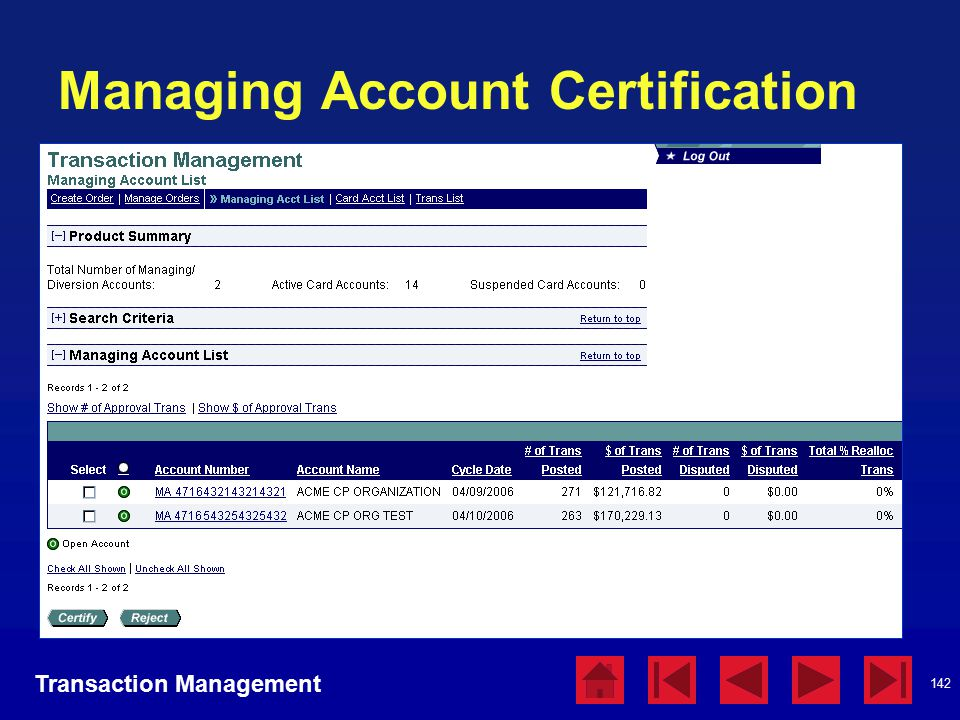 142 Managing Account Certification Transaction Management