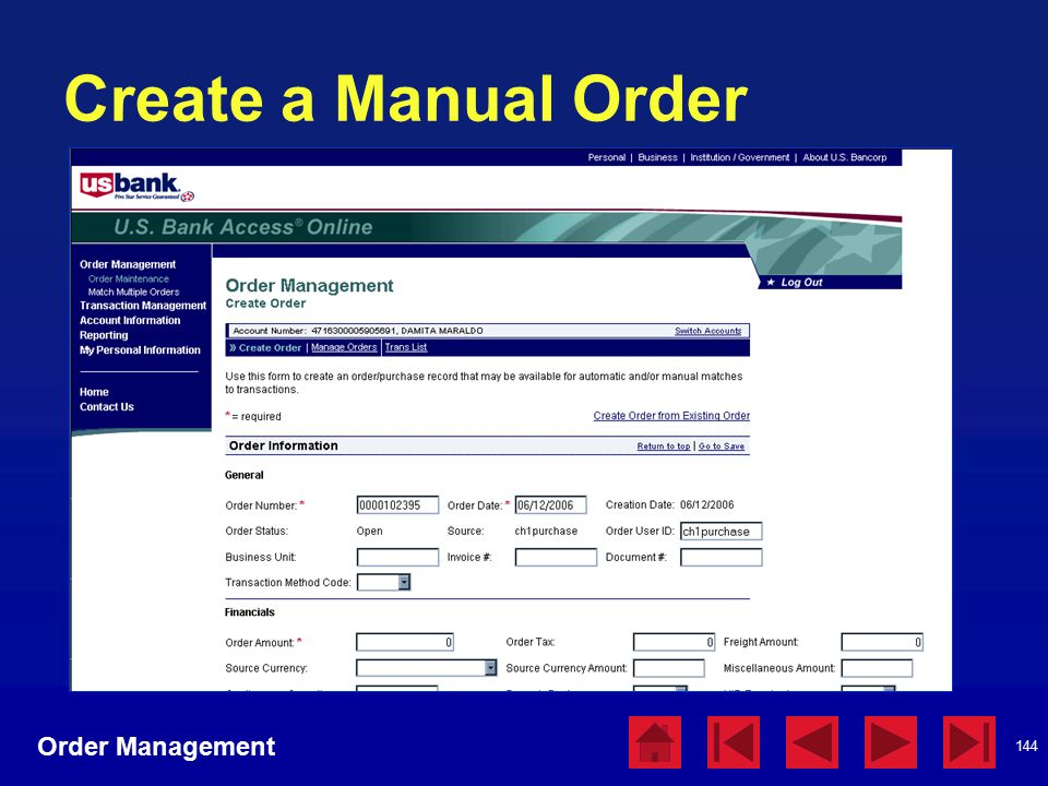 144 Create a Manual Order Order Management