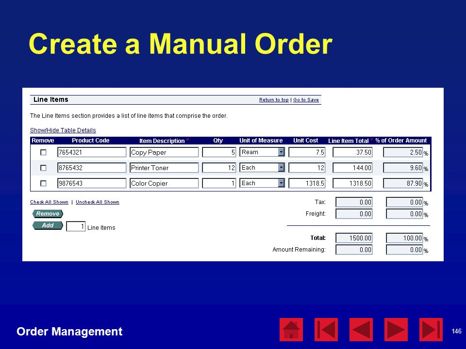 146 Create a Manual Order Order Management