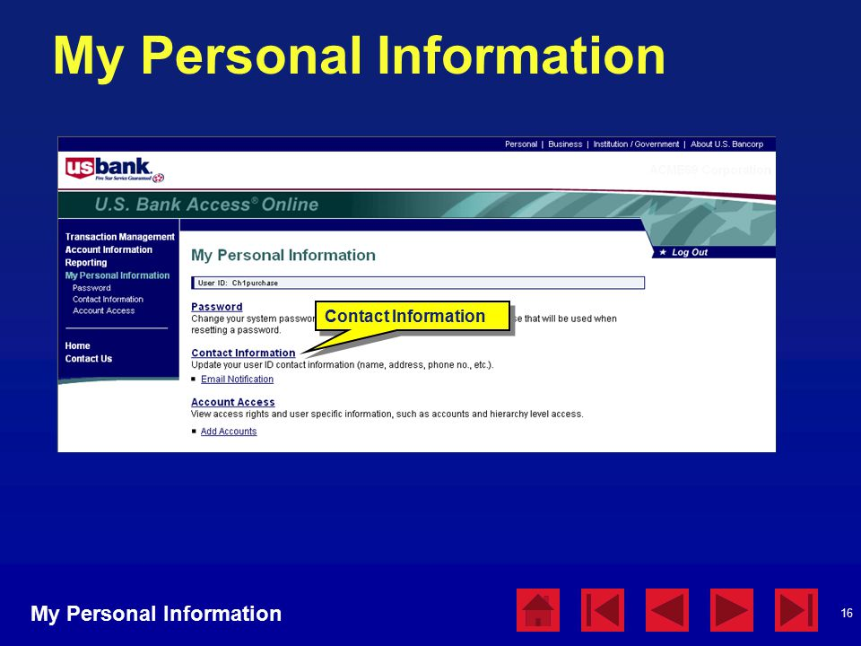 16 My Personal Information Contact Information