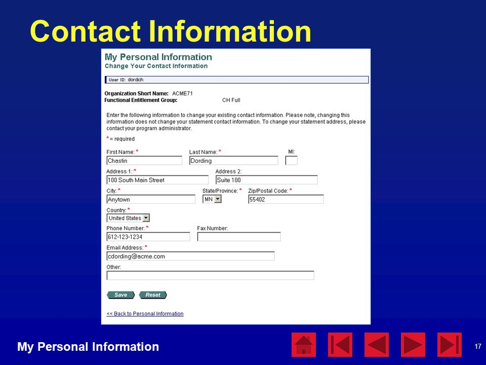 17 Contact Information My Personal Information