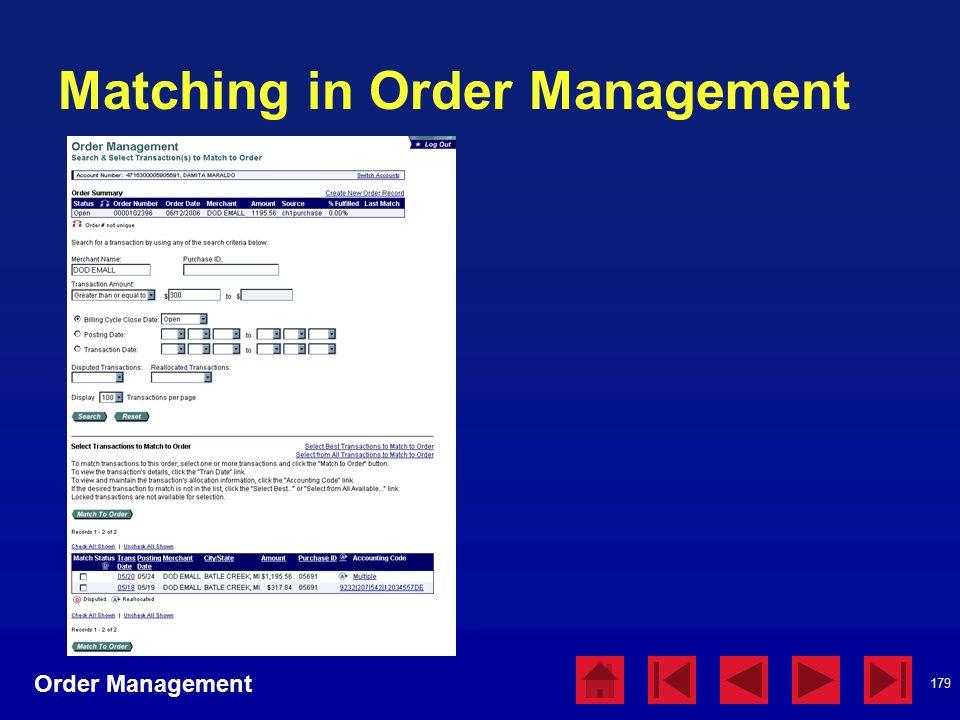 179 Matching in Order Management Order Management