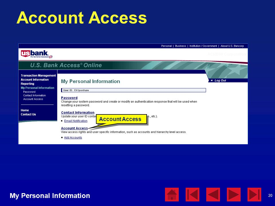 20 Account Access My Personal Information Account Access