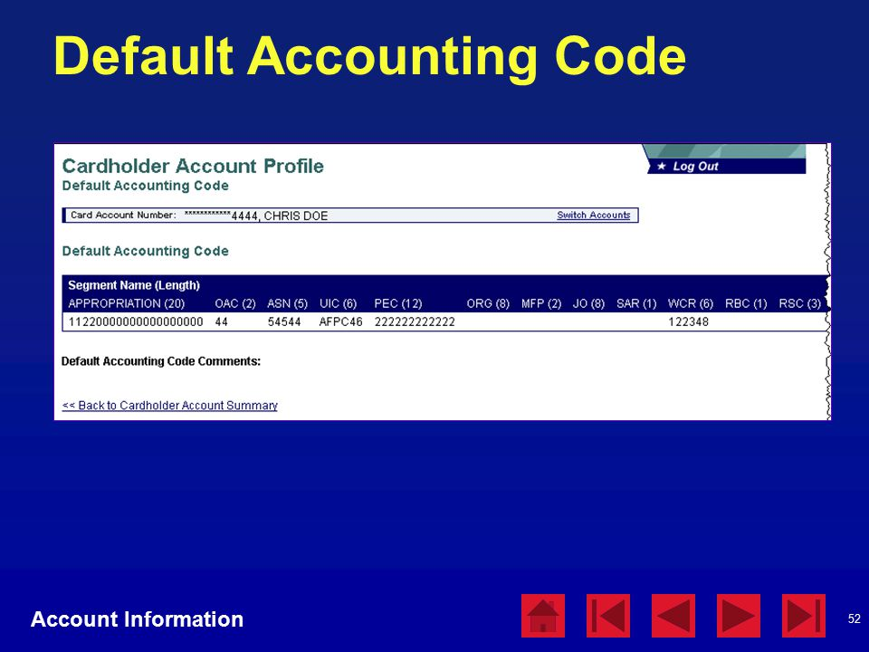 52 Default Accounting Code Account Information