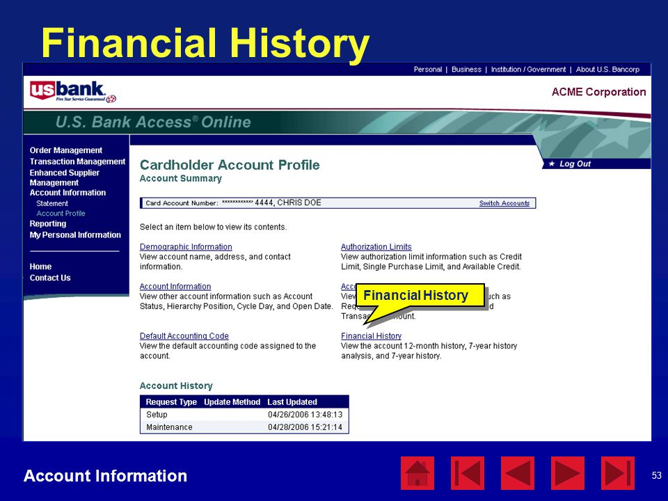 53 Financial History Account Information Financial History