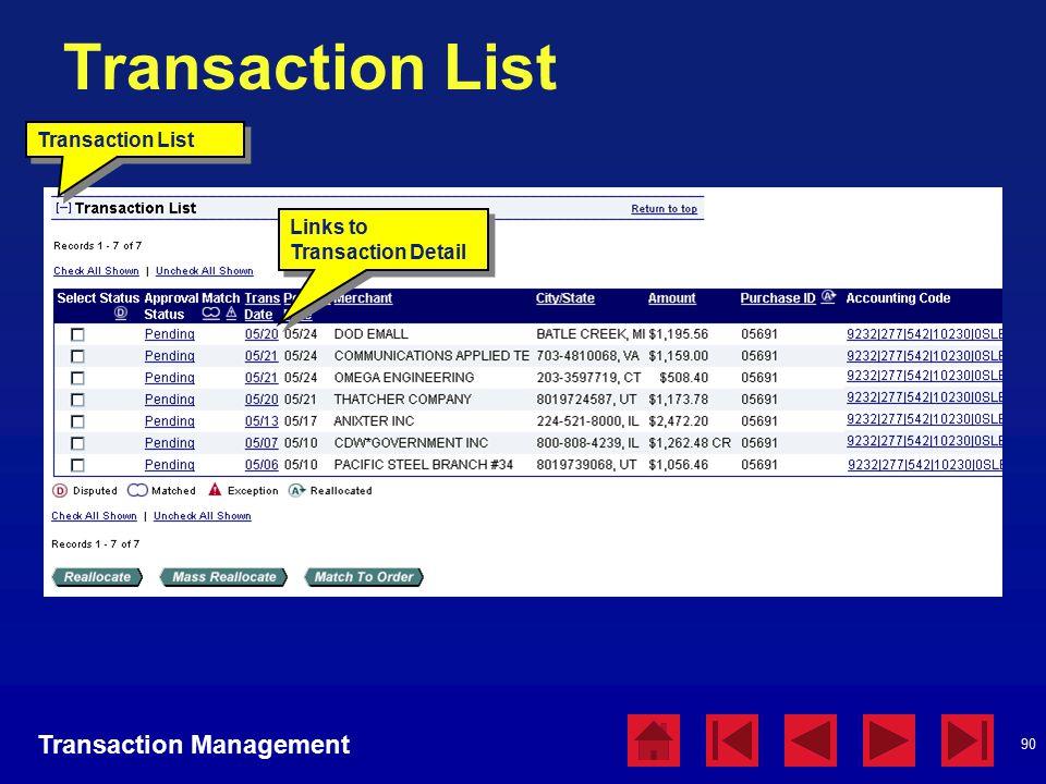 90 Transaction List Links to Transaction Detail Transaction Management