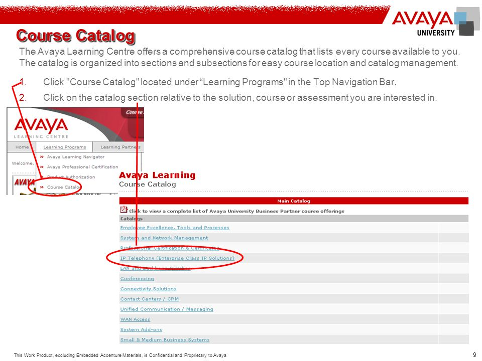 10 This Work Product, excluding Embedded Accenture Materials, is Confidential and Proprietary to Avaya 3.Each catalog section contains courses and/or additional catalog sections, which will organize courses at a more specific, product related level.