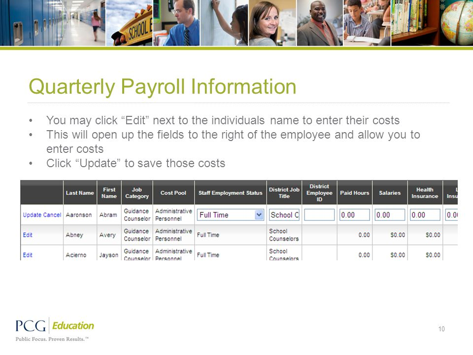 "Quarterly Payroll Information You may click ""Edit"" next to the individuals name to enter their costs This will open up the fields to the right of the"