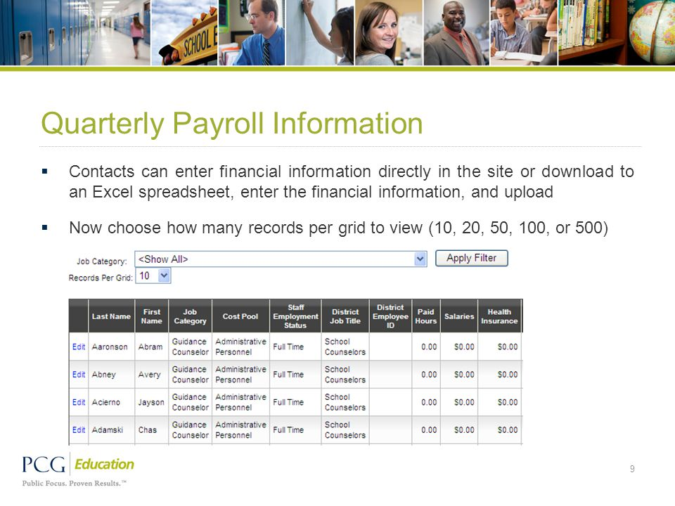 Quarterly Payroll Information  Contacts can enter financial information directly in the site or download to an Excel spreadsheet, enter the financial
