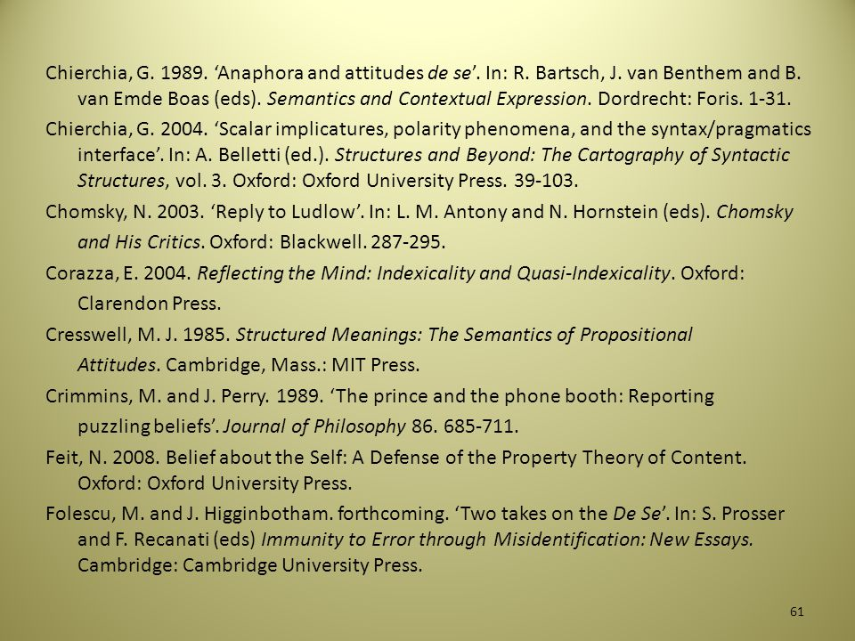 References Abbott, B. 2010. Reference. Oxford: Oxford University Press. Bach, K. 2004. 'Minding the gap'. In: C. Bianchi (ed.). The Semantics/Pragmati