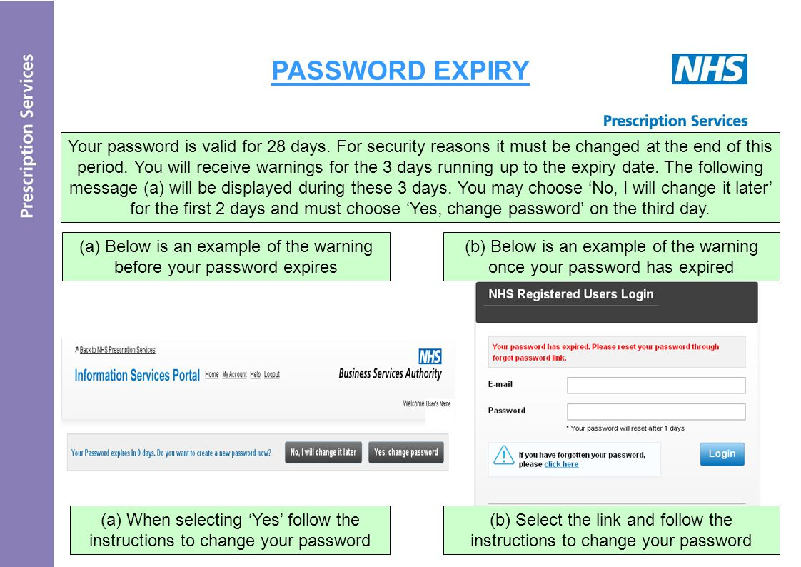 PASSWORD EXPIRY Your password is valid for 28 days.