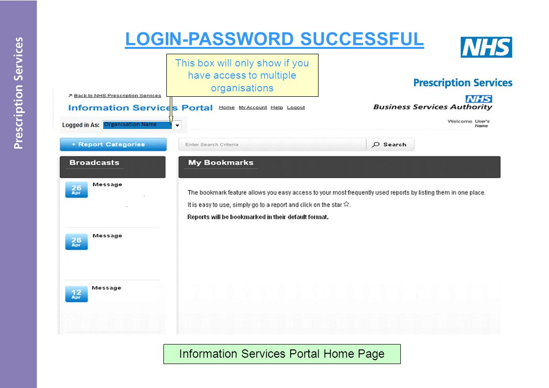 LOGIN-PASSWORD SUCCESSFUL Information Services Portal Home Page - Reports will be bookmarked in their default format This box will only show if you have access to multiple organisations