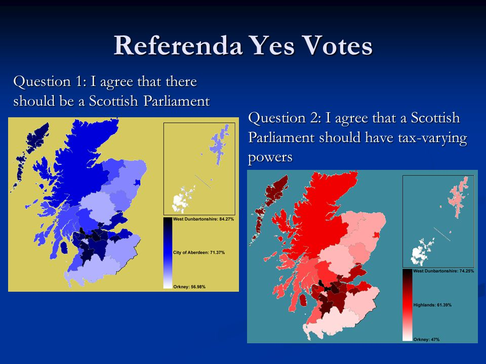 Referenda Yes Votes Question 1: I agree that there should be a Scottish Parliament Question 2: I agree that a Scottish Parliament should have tax-vary