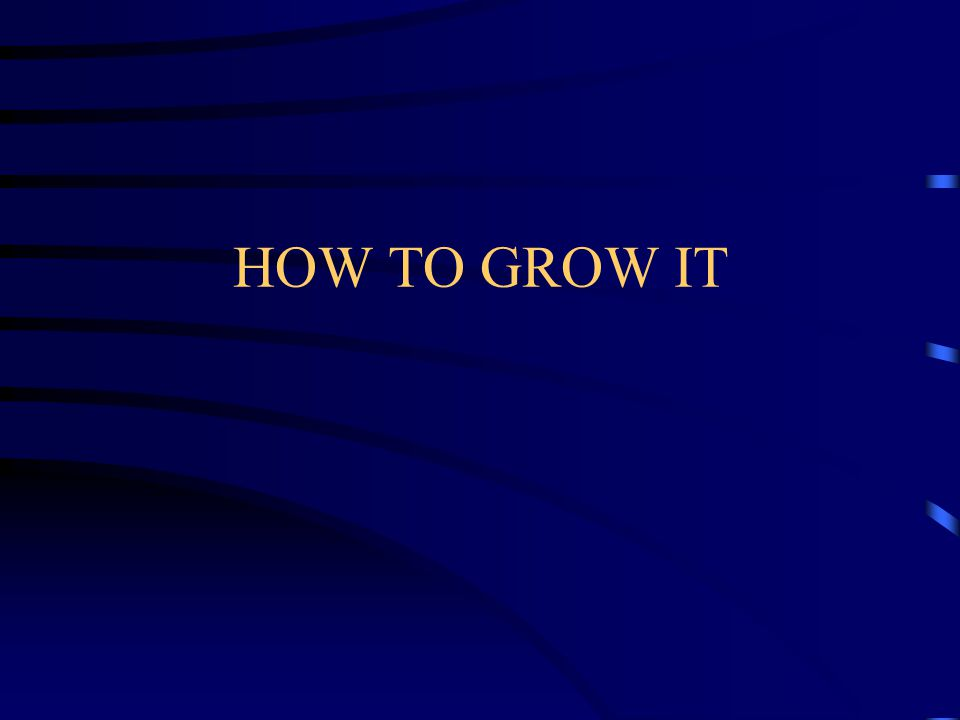 HOW TO GROW IT