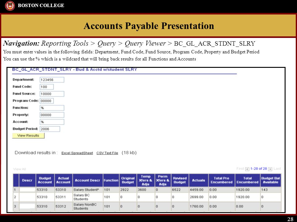Accounts Payable Presentation BOSTON COLLEGE 28 Navigation: Reporting Tools > Query > Query Viewer > BC_GL_ACR_STDNT_SLRY You must enter values in the following fields: Department, Fund Code, Fund Source, Program Code, Property and Budget Period You can use the % which is a wildcard that will bring back results for all Functions and Accounts