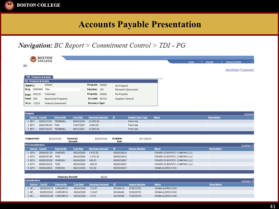 Accounts Payable Presentation BOSTON COLLEGE 41 Navigation: BC Report > Commitment Control > TDI - PG