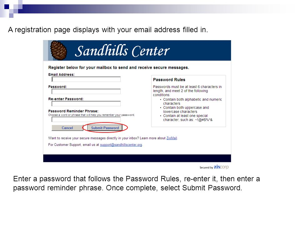 A registration page displays with your email address filled in.