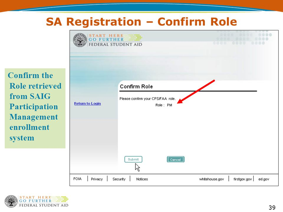 39 SA Registration – Confirm Role Confirm the Role retrieved from SAIG Participation Management enrollment system
