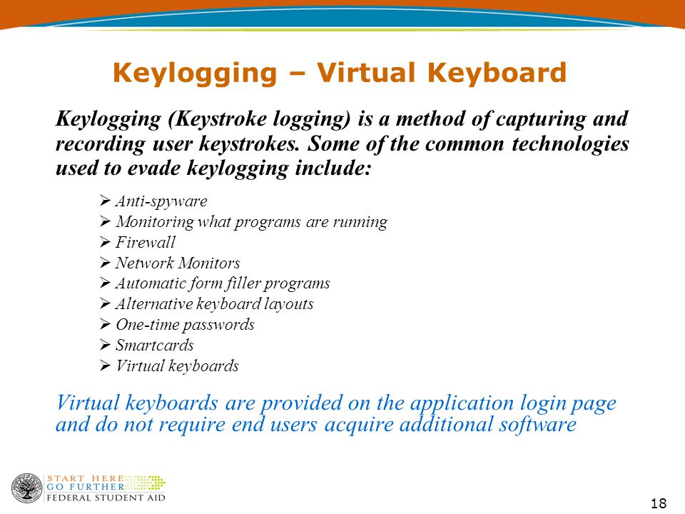 18 Keylogging – Virtual Keyboard Keylogging (Keystroke logging) is a method of capturing and recording user keystrokes.