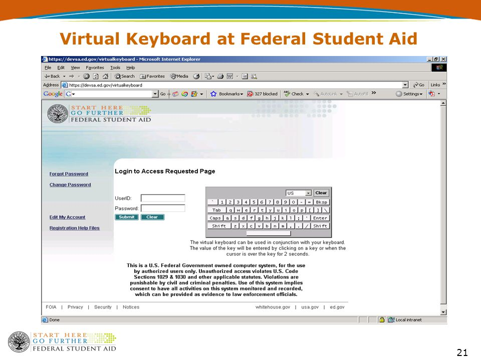 21 Virtual Keyboard at Federal Student Aid